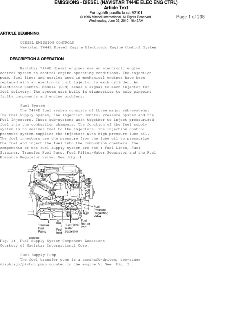 t 444 e 1  fuel injection diesel engine