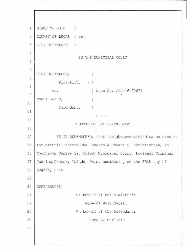 Terri Grier Transcript 08192016 | Prosecutor | Judiciaries