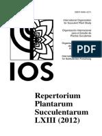 Repertorium Plantarum Succulentarum 63-2012