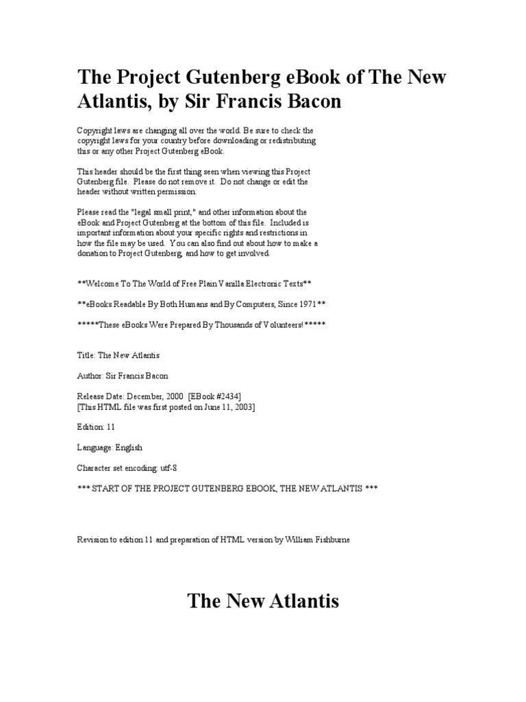 The project gutenberg ebook of the new atlantis project gutenberg the project gutenberg ebook of the new atlantis project gutenberg e books fandeluxe Gallery