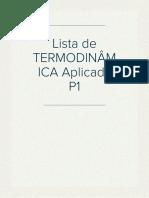 Lista - TERMODINÂMICA Aplicada P1