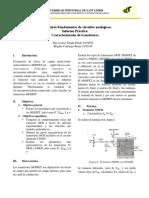 Informe. Practica 2. Laboratorio Fundamentos de Circuitos Analógicos Caracterización de Transistores