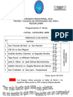 CAMPEONATO MAGISTERIAL 2016-PROGRAMACIÓN 4° FECHA