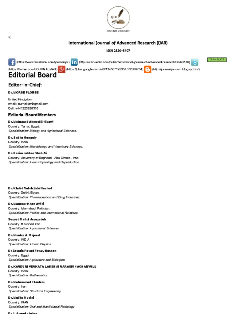 Editorial Board of IJAR (International Journal of Advanced Research