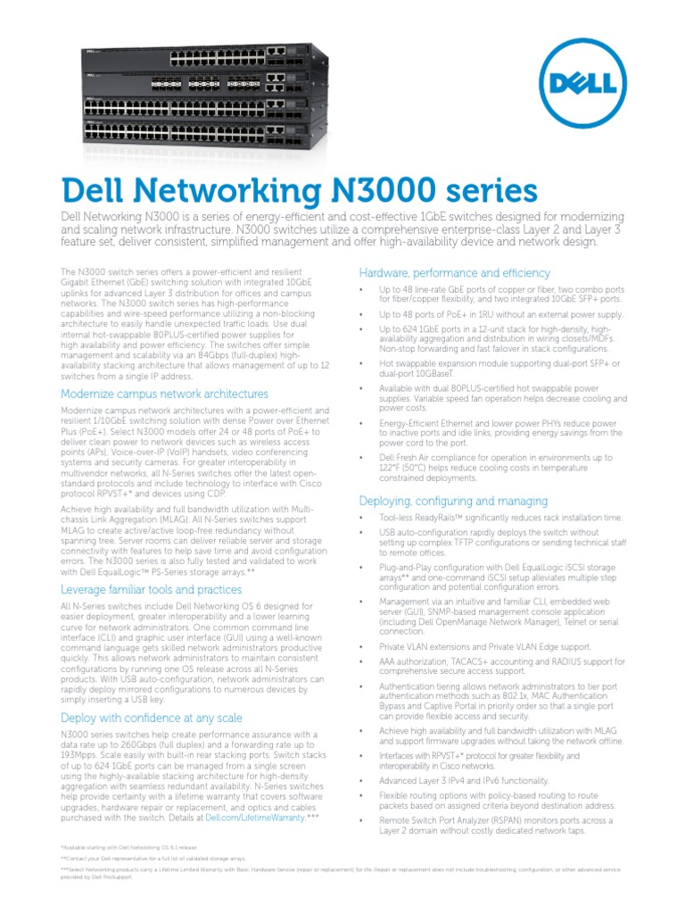 Dell Networking N3000 Series Spec Sheet | Network Switch | Computer