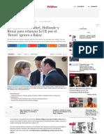 La Cumbre de Merkel, Hollande y Renzi Para Relanzar La UE Por El 'Brexit' Ignora a Rajoy
