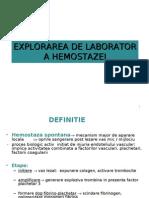 Explorarea de laborator a hemostazei