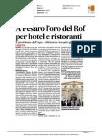 A Pesaro l'oro del ROF per hotel e ristoranti - Il Corriere Adriatico del 23 agosto 2016