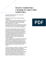 Undang-undang Narkotika (Narkoba) Nomor 35 Tahun 2009 Tentang Narkotika