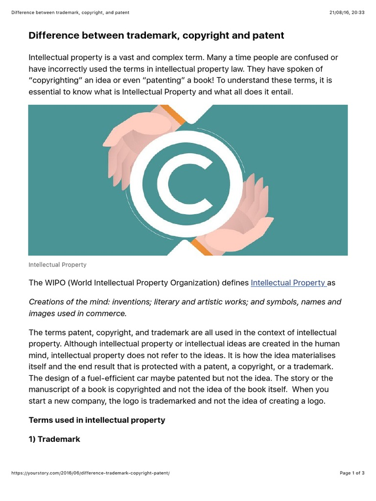 Difference Between Trademark Copyright And Patent Intellectual