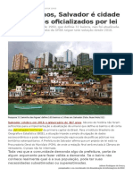 Salvador é Cidade Sem Bairros Oficializados Por Lei