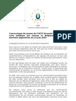 UETD - crise politique en Belgique - communiqué