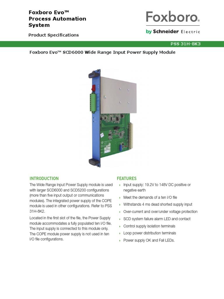 Foxboro Evo™ SCD6000 Wide Range Input Power Supply Module | Power