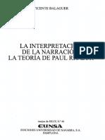 Balaguer Vicente - La Interpretación de La Narración - La Teoría de Paul Ricoeur