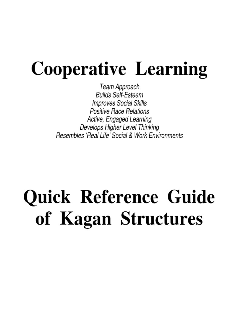 Cooperative Learning Kagan Quick Reference Guide | Consensus ...