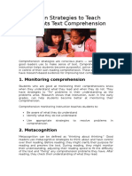 Strategies to Teach Students Text Comprehension