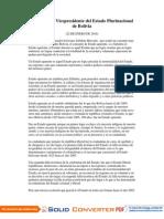 Discurso Del Vicepresidente Del Estado Plurinacional de Bolivia