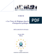 UETD FORUM - Les Turcs de Belgique dans le processus d'intégration politique - Déclaration finale