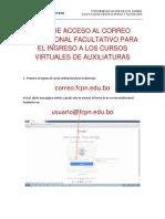 Guia de Acceso Al Correo Intitucional Facultativo Para El Ingreso a Los Cursos Virtuales de Auxiliaturas