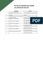 Calendario de Actividades en El Sispee