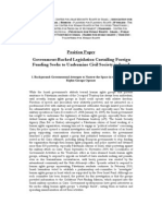 Israeli HR Groups Position Paper 2010 ENG [Knesset Legislation Proposal on Disclosure Requirements for Recipients of Support From a Foreign Political Entity]