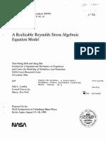 A Realizable Reynolds Stress Algebric Equation Model - Shih