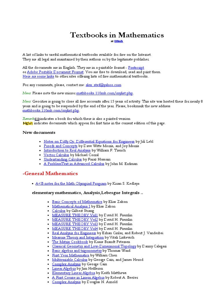 Textbooks, Lecture Notes and Tutorials in Mathematics | Geometry