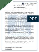 RO# 820 - 2S - Normas Aplicación Remisión Intereses, Multas y Recargos de Obligaciones Tributarias y RISE en Zonas Afectadas Terremoto (17 Agosto 2016)