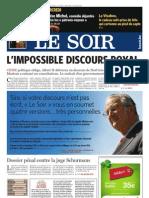 Le Soir 2008-12-24 P1 Discours royal