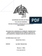 INFLUENCIA DE LA DENSIDAD DE CORRIENTE, TEMPERATURA Y TIEMPO DE ELECTRODEPOSICION SOBRE EL ESPESOR DE CAPA DURANTE EL CROMADO DURO DE UNA ACERO AISI 3215.