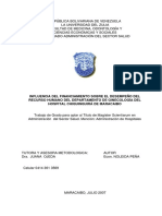 INFLUENCIA DEL FINANCIAMIENTO SOBRE EL DESEMPEÑO DEL RECURSO HUMANO DEL DEPARTAMENTO DE GINECOLOGÍA DEL HOSPITAL CHIQUINQUIRÁ DE MARACAIBO