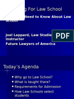 Preparing for Law School, Law School and Careers, What You Need to Know- PP Feb 1st, 2007, Joel Leppard