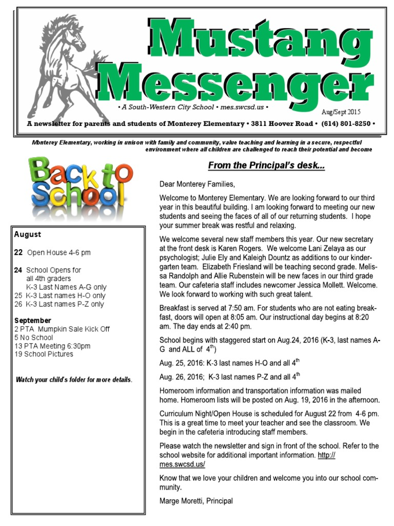 2016 Aug Sept Newsletter 1 No Child Left Behind Act Elementary