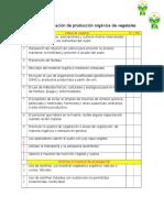 Lista de Verificación de Producción Orgánica de Vegetales