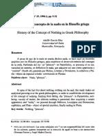 Historia del concepto de la nada en la filosofía griega