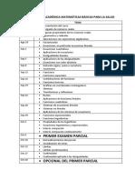 Programación Académica Para Matemáticas Básicas Para La Salud
