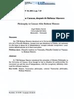 La filosofía en Caracas, después de Baltasar Marrero