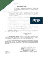 Affidavit of Loss- Drivers License
