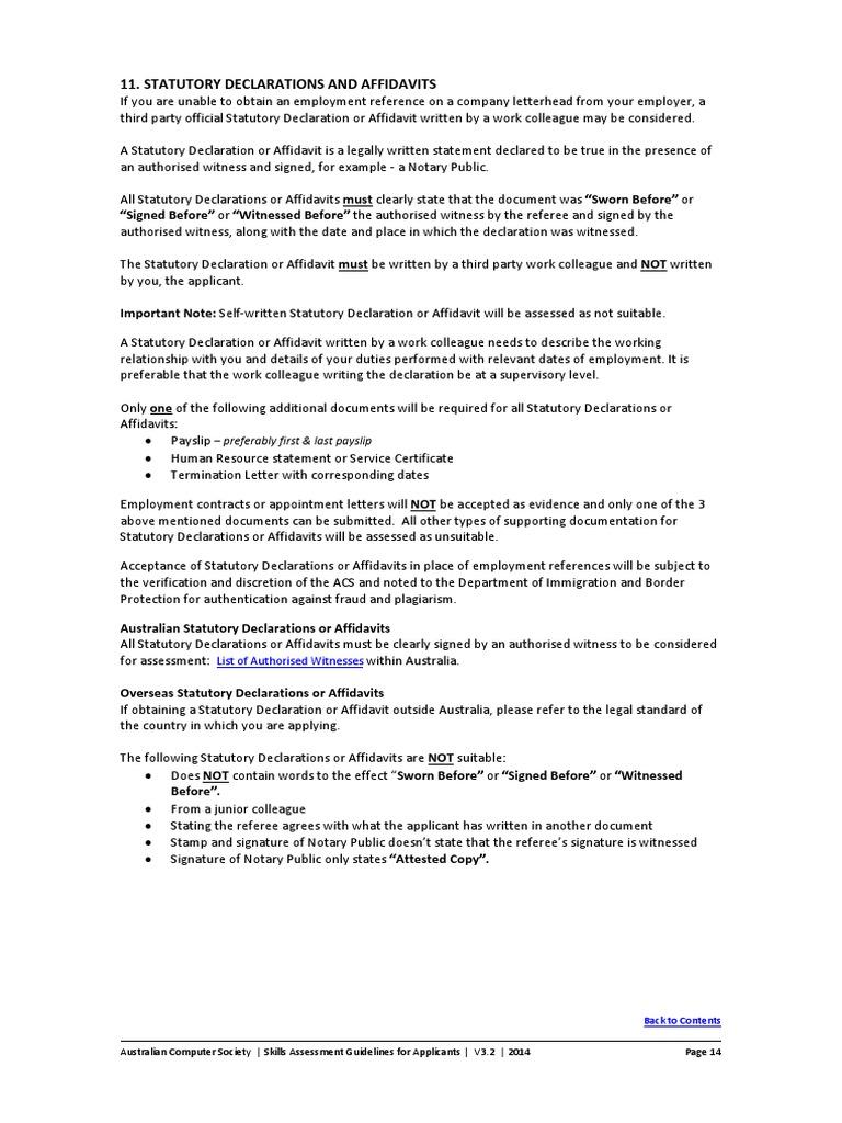 Attestation Guide - Statutory Declaration PDF  Affidavit  Notary