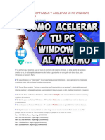 Mejor Forma Optimizar y Acelerar Mi Pc Windows 10 Al 500