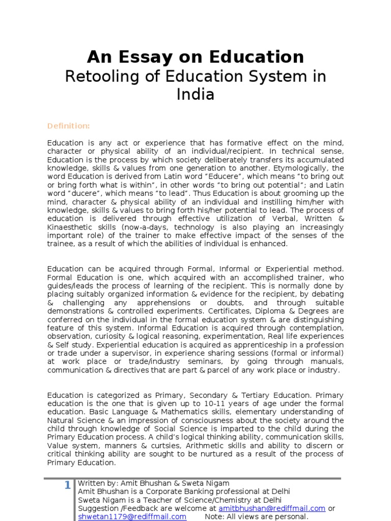 An essay on education analysis of education system in india what