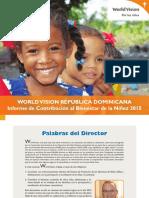 Contribución de World Vision a niñez en 2015