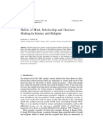 Habits of Mind, Scholarship and Decision Making in Science and Religion