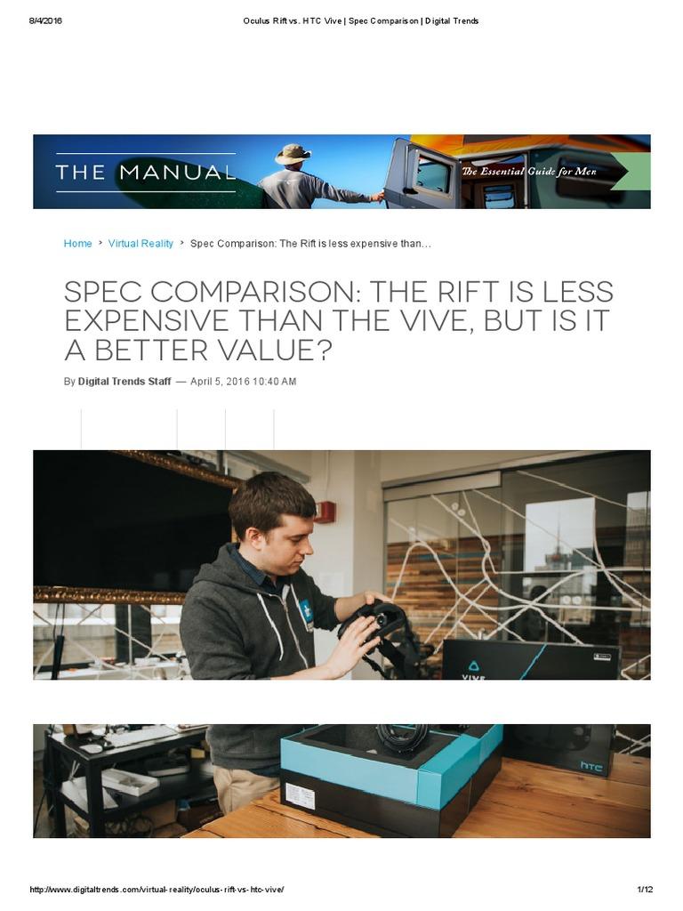 Oculus Rift vs HTC vive pdf | Htc Vive | Virtual Reality