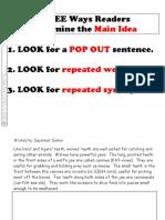 main idea strategy chart