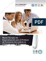 Master Europeo de Especialización para el Profesor de Formación Secundaria en Administración de Empresas