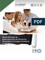 Master Europeo de Especialización de Formación Secundaria en Lengua Castellana y Literatura