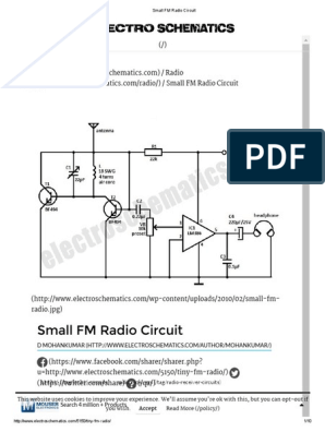Small FM Radio Circuit pdf | Electronic Circuits | Frequency