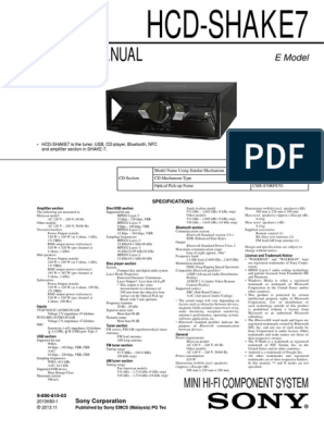 Service Manual: Mini Hi-Fi Component System