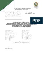 Pg&e Company's Response i.14!11!008 7-18-16